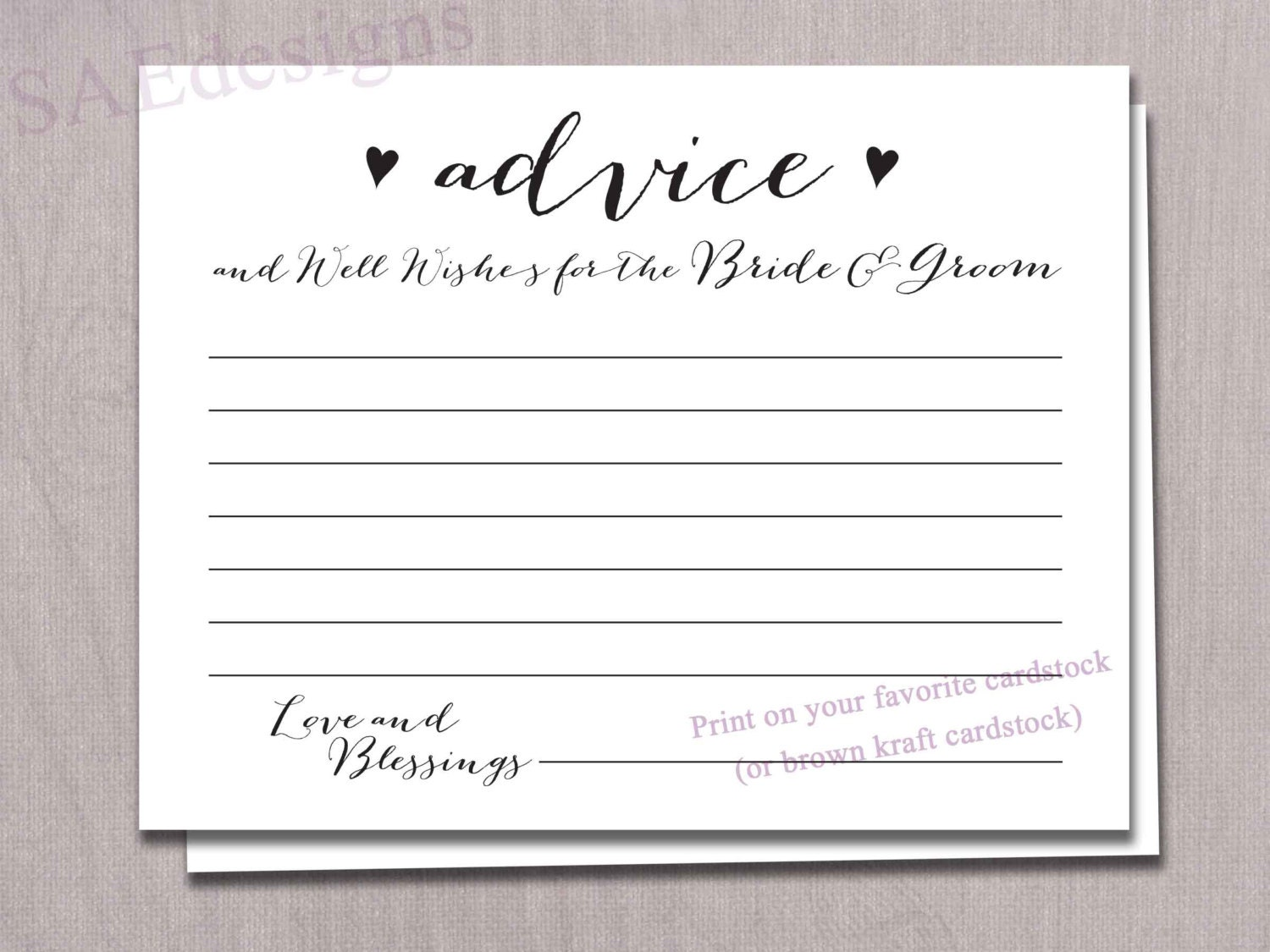 Wedding Advice For The Bride And Groom Card Cards Instant