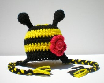 PATTERN:  Bumble Bee, Easy Crochet PDF, All Sizes Newborn to Adult, 2 flower options, beanie, InStAnT DoWnLoAd, Permission to Sell
