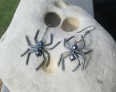 Hematite Spider Earrings - Grey good spiders - Beaded - Steam Punk - gothic - Halloween- Aracnid - Creepy Crawly