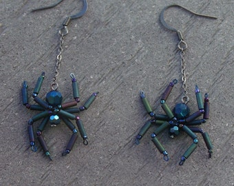 Metallic Blue Spider Earrings - Baby spiders -  Matte metallic iris legs - Oddity - Steam Punk - gothic - Aracnid - Creepy Crawly