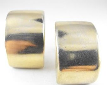 Chunky Modernist Earrings Sterling Vermeil 1970s Mod Clip On Style Half Pipes