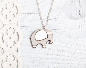 Gray Necklace, Wood Elephant, Many color variations