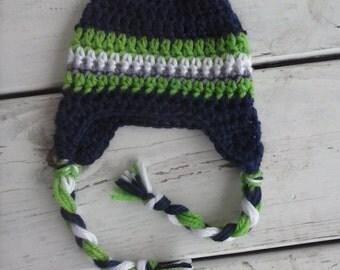 Crochet Stripe Ear Flap Beanie- Baby Boy Beanie- Blue Red Grey MADE TO ORDER newborn to toddler