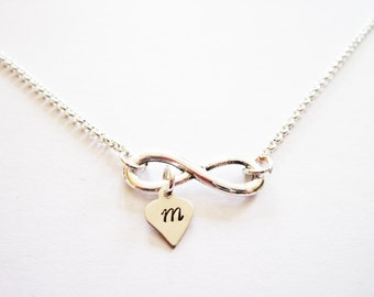 Personalized Infinity necklace initial necklace, silver infinity necklace, initial necklace, mother necklace custom initial engraved initial