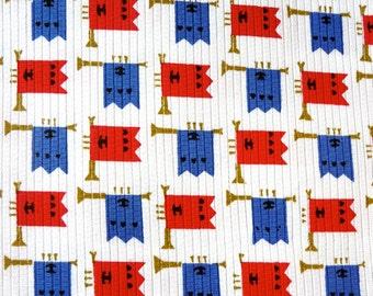 Retro Trumpet Horn Print Cotton Fabric Vintage New