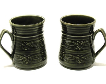 Vintage Ellgreave Pottery Mugs/Beakers - Embossed Saxony Pattern - Mid-Century Mugs -Retro Mugs -  Mod Mugs - Olive Green - Made in England