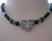 Bright n Shiny Silver Open HEART on Custom Black Onyx Necklace with Silver Plated Bead Accents
