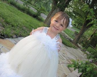 Feathered Tutu Dress, Feather dress, Flower girl feather Tutu Dress, feather pagent dress, pagent