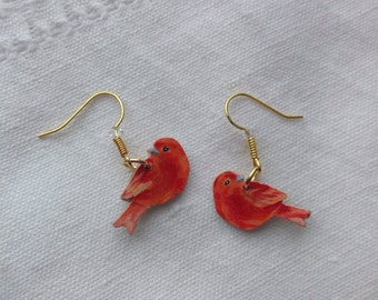 Orange canary bird earrings