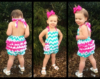 Girls Bubble Ruffle Romper//Matching Hair Piece Included//Sizes 2-6//Lots of Fabric Choices