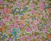 Floral Print Quilt Fabric, Vintage 1970s Small Scale Allover Colorful Orange Orchid Blue Green Floral Print Cotton Fabric, Free US Shipping