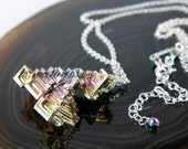 Rainbow Bismuth necklace, Sterling Silver fine necklace with rainbow metal crystal, original silver wire wrap crystal necklace, gift, NL2458