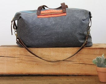 Waxed Canvas Weekend Getaway Bag Patch Grey