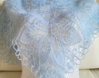 Knit shawl. Lace shawl. Lite blue shawl. Ready to ship.