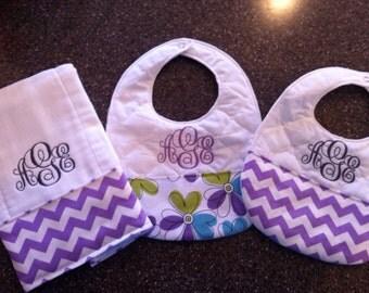 Personalized Monogrammed Custom Bibs & Burp Cloth for Girls