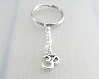 Silver Om Keychain, Silver Aum Keyring, Yoga Keychain, Ohm Keyring
