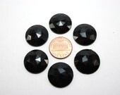 6 pcs Acrylic Faceted Rhinestone Cabochon - Black Circle Round - 20mm diameter