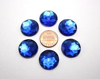 6 pcs Acrylic Faceted Rhinestone Cabochon - Royal Blue Circle Round - 20mm diameter