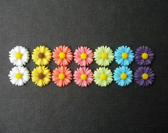 14 pcs Resin Flower Cabochons - 13mm Daisy - Bold Tropical Colors Mix