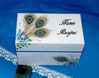 Hand Painted Wood Recipe Box Decorative Wooden Wedding Recipe Card Box Peacock Wood Gift Box Personalized Turquoise White Bridal Shower Gift