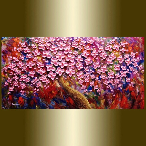 Abstract painting Contemporary oil painting orange Blooming Tree landscape painting Acrylic painting Surreal Heavy Palette Knife Texture