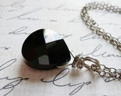 Jet Black Crystal Necklace / Faceted Teardrop / Sterling Silver / SimplyJoli / Noir / Licorice