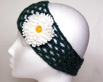 handmade crochet headband with daisy, head wrap, head scarf, daisy headband, Winter fashion, ready to ship, UK seller