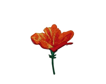 ID #6388 Orange Red Lily Flower Iron On Embroidered Patch Applique