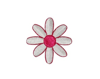 ID #6747 White Pink Daisy Blossom Iron On Embroidered Patch Applique