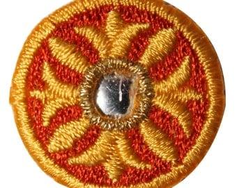 ID #8810 Orange Reflective Round Circle Shield Embroidered IronOn Applique Patch