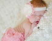 Baby Girls Pink lace bloomer set-pink lace diaper cover headband-baby shower gift-cake smash-1st birthday outfit-newborn outfit-photo prop