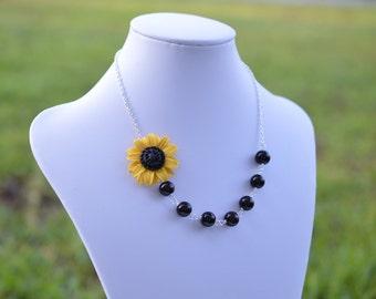 Yellow Sunflower and Black Glass Bead asymmetrical necklace, Sunflower Necklace, Yellow Flower Necklace