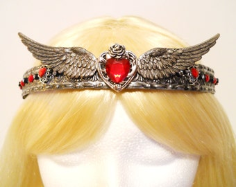 Heart, Crown, Silver Tiara, with Wings, Queen, Princess, Game of Thrones, Queen of Hearts, Costume, Steampunk,  Reign, Royal, Valentines Day