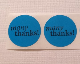 Sticker Label Many Thanks Envelope Party Favor Seals Hand stamped Set of 15