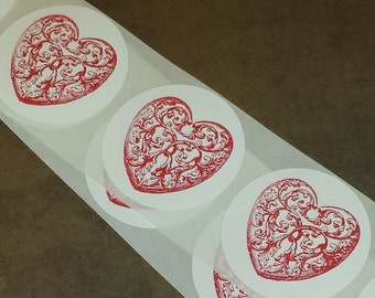 STICKERS /  Valentine / Red Heart Scroll Ornate / Round 2 inch Label Envelope Bag Seals / Set of 15