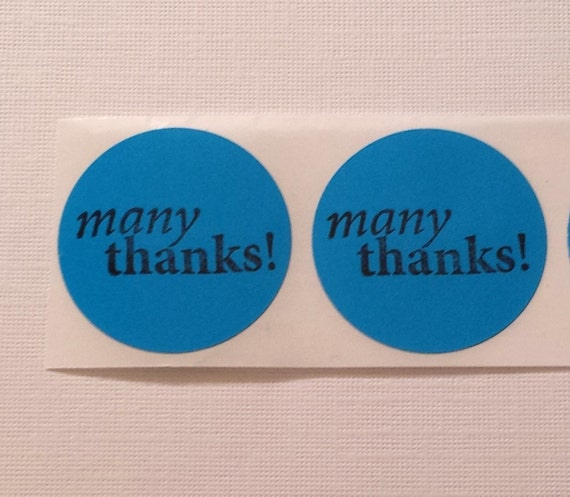 Sticker Label Many Thanks / 1.5 in Circle / Set of 15 / Envelope Party Favor Seals Hand stamped