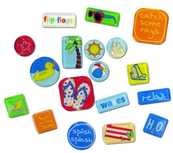 BEACH BRADS Acrylic Tile Stickers Summer Vacation