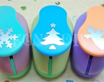 19~25mm Large size lever type paper punch -- snowflake OR fir tree OR angel
