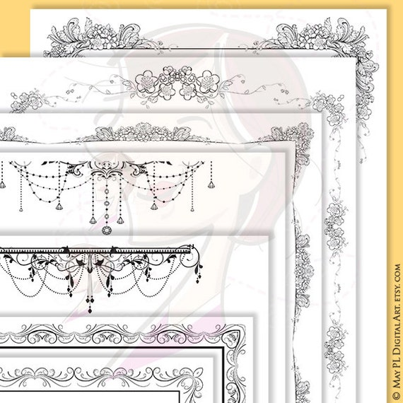 floral frame clipart document frame black page borders 8x11 chandelier pretty acanthus orange blossom diy digital