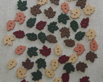 """Buttons / 30 plus country colour autumn leaves / leaf button 0.4"""" (1cm)"""