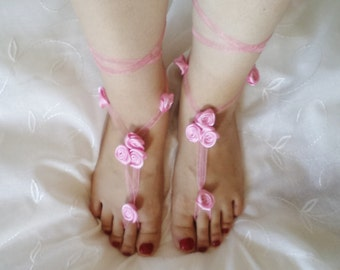 Flower girl shoes sandals Anklet  Dance Beach Pool accessories Wedding Accessories Bridal Sandals rose sandals beach shoes flower girl