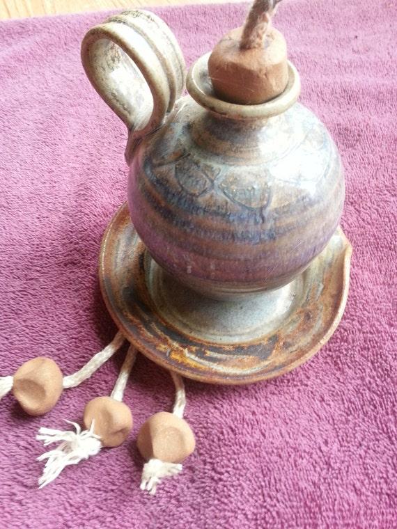 Handmade Ceramic Oil Lamps : Items similar to beautiful handmade pottery oil lamp with