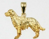 3D GOLDEN RETRIEVER Dog Charm in 14k Yellow Gold  25-12