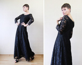 Black lace rhinestone boat neck floor length evening maxi dress S
