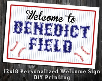 Baseball Themed Birthday Party Sign - 12x18 Personalized Welcome Poster - DIY Printing