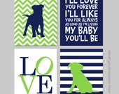 Nursery Wall Art Baby Boy Nursery Decor Ideas Baby Shower Gift Wall Art Print Set FOUR, Personalized Navy Blue Lime Green White ofCarola