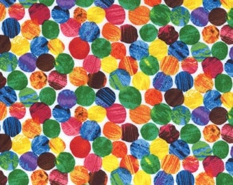 Andover Very Hungry Caterpillar fabric, Colorful Dots, Various lengths available