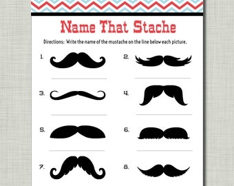 Mustache Party Game Baby Shower Birthday Name that Stache with answer key Mason BD14 Printable - Instant Download