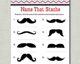 Mustache Party Game Baby Shower Birthday Name that Stache with answer key printable pdf INSTANT DOWNLOAD