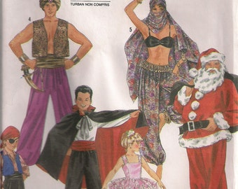 Simplicity Costume Sewing Pattern 8289 - Santa, Belly Dancer, Vampire, Genie Costumes (2-12)